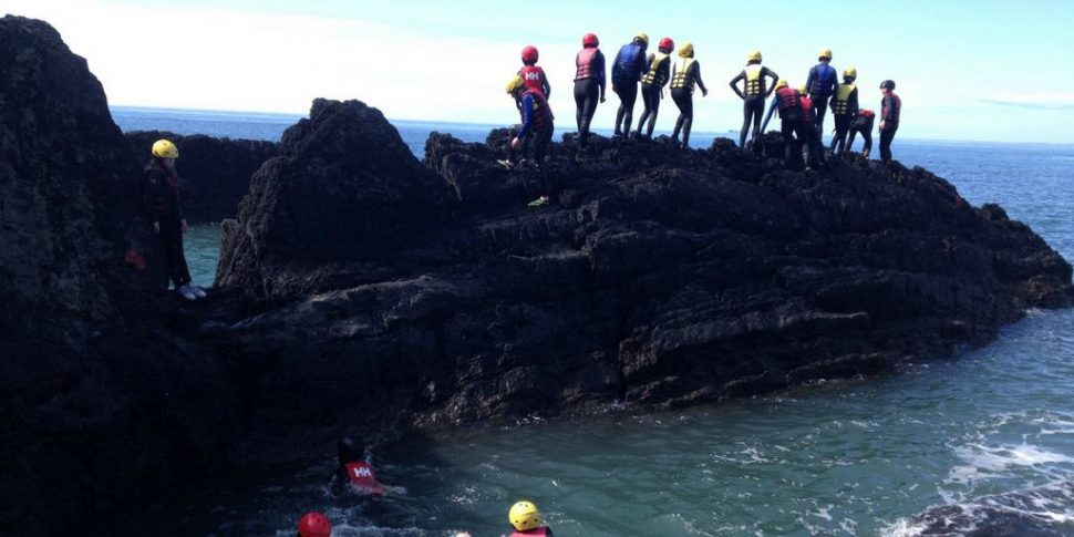sunset coasteering with Swell surf school for Cork Harbour Festival